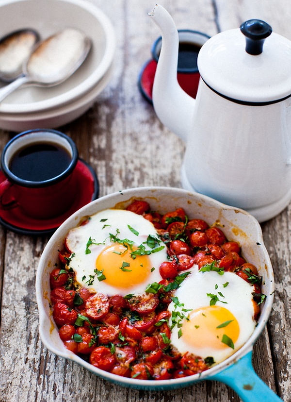 Baked Eggs on a Bed of Roasted Cherry Tomatoes