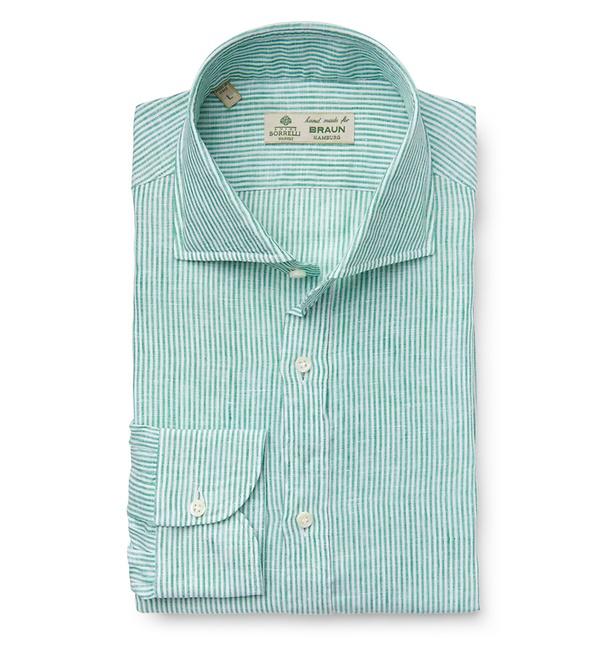 Borrelli - Leinenhemd 'Ettore' Haifisch-Kragen grün gestreift