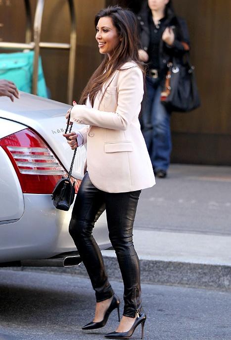 Kim Kardashian Wears $1,500 Leather Pants on Kanye West Date
