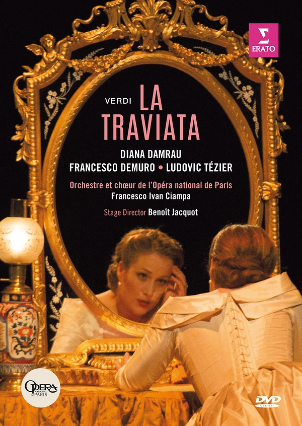 Giuseppe Verdi - La Traviata Damrau, Demuro, Tézier ,Ciampa/Opéra national de Paris WMG 0825646166503 DVD € 23,95.