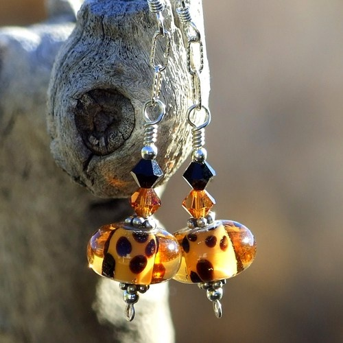 """Go Wild!"" handmade leopard spotted lampwork glass earrings with two colors of Swarovski crystals and sterling silver."