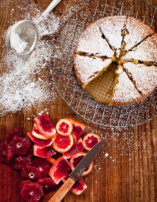 Almond Cake with Cardamom + Blood Orange