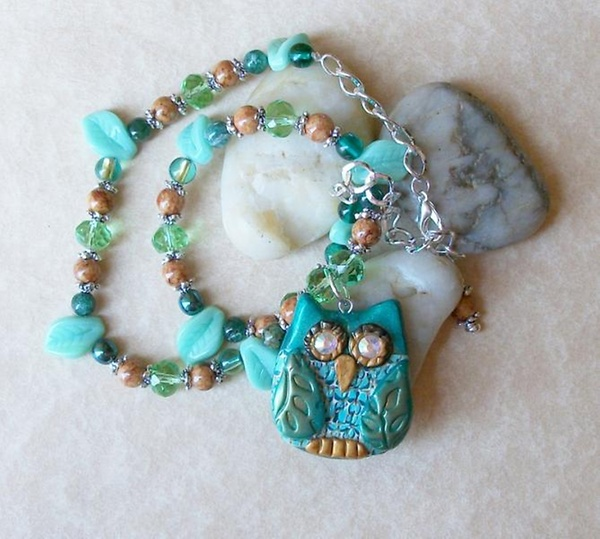Green Crystal and Fossil Bead Owl Pendant Necklace and Earring Set  by PineRidgeTreasures