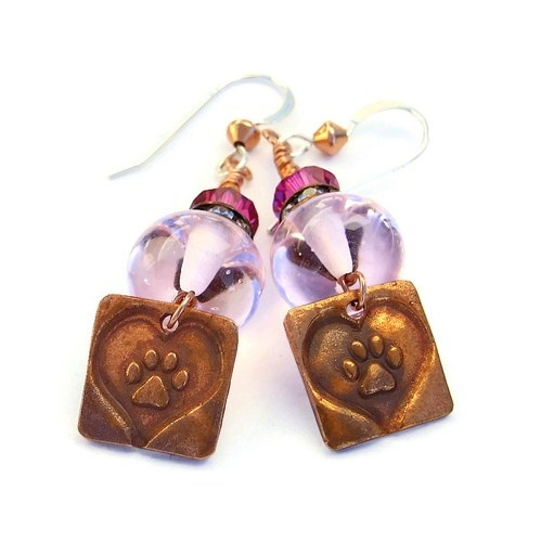 One half (1/2) of the purchase price of these handmade artisan dog rescue earrings will be donated to the local Humane Society.