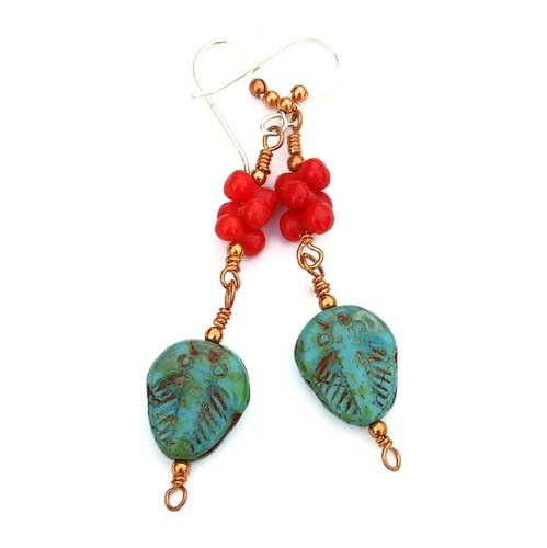 The color combination of turquoise colored Czech trilobites and red coral gives the handmade earrings a lovely Southwest flair!