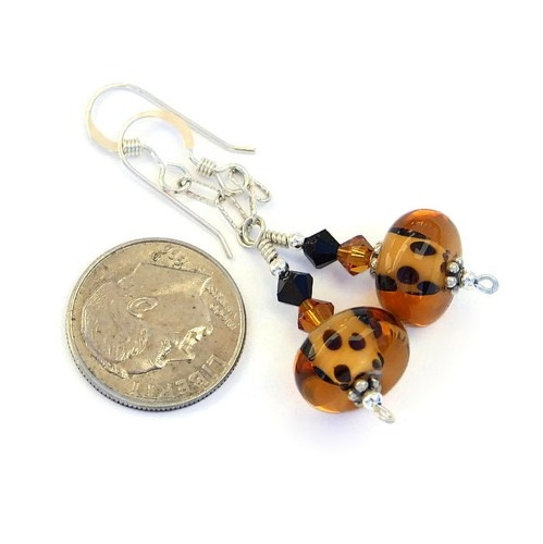 "The ""Go Wild"" lampwork and Swarovski crystal earrings shown with a dime for size comparison. They are approximately 1.75"" / 4.4 cm long measured from the top curve of the earwires."