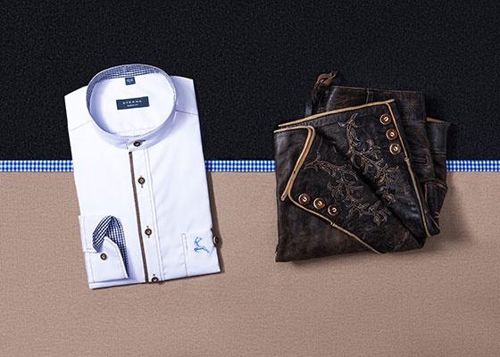 """Damit die """"strammen Wadl"""" der """"Lausbuam"""" auch gut zur Geltung kommen - kurze Lederhose und ein Hemd für Detailverliebte von ETERNA"""