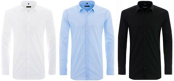 In Weiß, Hellblau und Schwarz ist das Super-Slim-Hemd hier in unserem Onlineshop erhältlich. Weitere Farben und Styles werden nach und nach dazukommen.