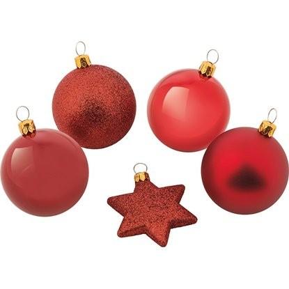 Sada vánočních koulí červená, 50 ks