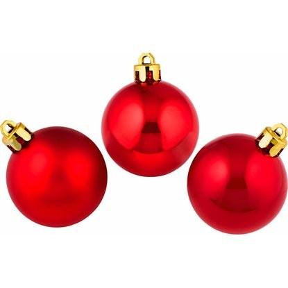 Sada vánočních ozdob - koule plastové červené 5 cm, 8 ks