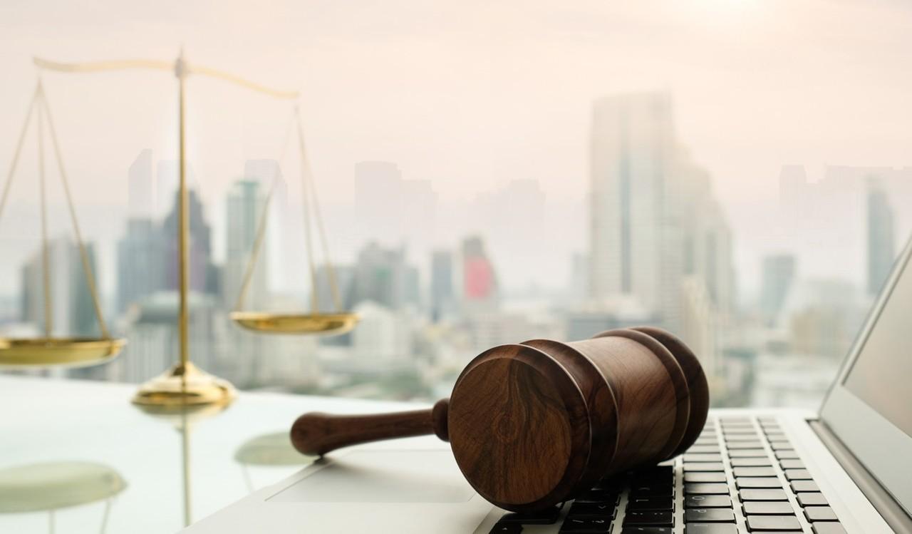 Waage, Gericht, Laptop, Recht