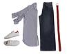 Adidas: rot-weiße Sneaker € 94,95, M.i.h. Jeans: blau-weiß gestreifte Bluse € 219,95, M.i.h. Jeans: Jeans € 249,95, Schuchard & Friese: roter Flechtgürtel € 39,95