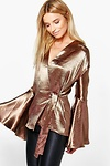 Alice Satin Wrap Over Flute Sleeve Blouse