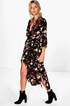 Amada Floral Printed Maxi Shirt Dress