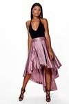 Annia Satin Dipped Hem Full Maxi Skirt