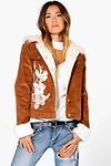 Ava Corduroy Sherpa Cuff & Fur Collar Applique Jacket