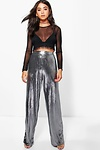 Boutique Megzhan Metallic Wide Leg Trousers