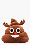 Christmas Reindeer Poo Emoji Cushion