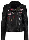 Erin Faux Leather Badge Biker Jacket