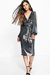 Holly Robe Midi Métallique Ouverte Aux Épaules