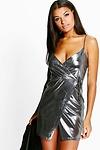 Jen Metallic Strappy Wrap Slip Dress