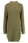 Khaki Knit Jumper Dress >