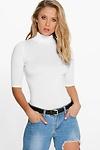 Lara Roll Neck Short Sleeved Top