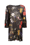 Mesh Floral Frill Shift Dress >