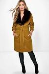 Plus Lola Robe Coat With Faux Fur Shawl Collar