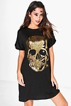 Riah Halloween Metallic Skull T-Shirt Dress
