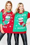 Skye Naughty & Nice Twin Christmas Jumper