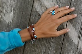 LOOPY bracelet with turquoise and BOUTON rings with turquoise and diamonds