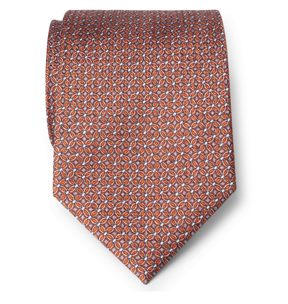 Brioni – Seidenkrawatte orange gemustert