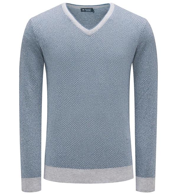 Hackett London - V-Neck Pullover rauchblau gemustert