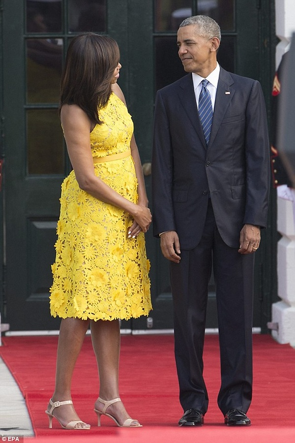 Michelle Obama in yellow dress