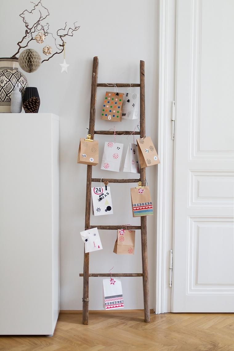 adventskalender aus papiertten an dekoleiter - Einfache Dekoration Und Mobel Samtpfoten Fuer Die Moebel