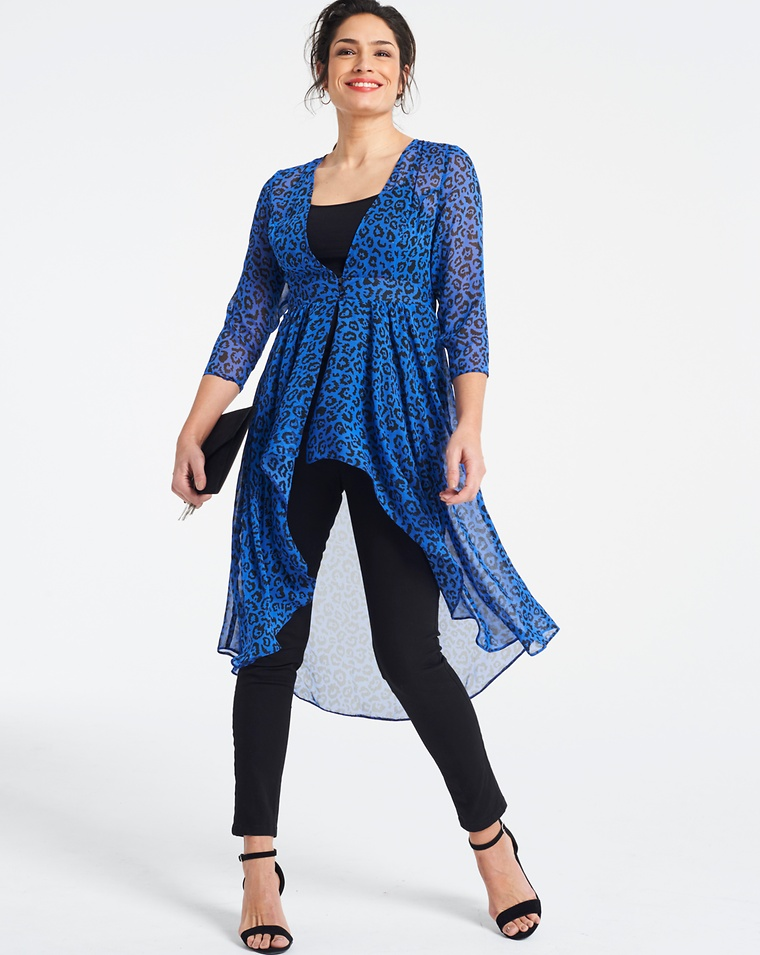 8146a64cac5 Blue Animal Print Long Sleeve Kimono