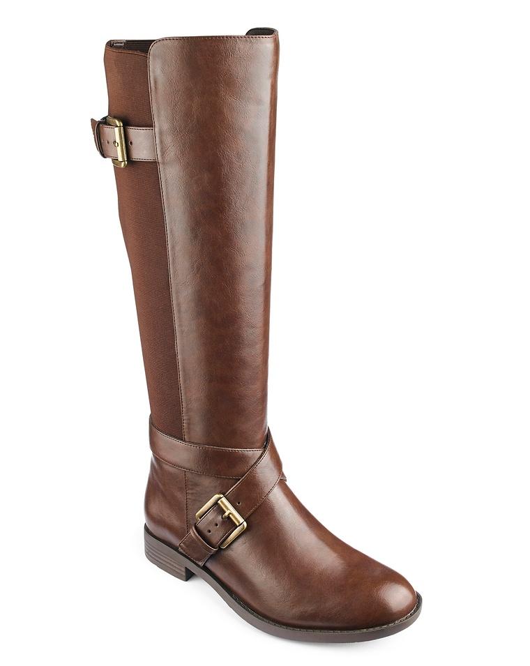 be279f464d2 Buckle Detail High Leg Boots Wide E Fit Curvy Plus Calf