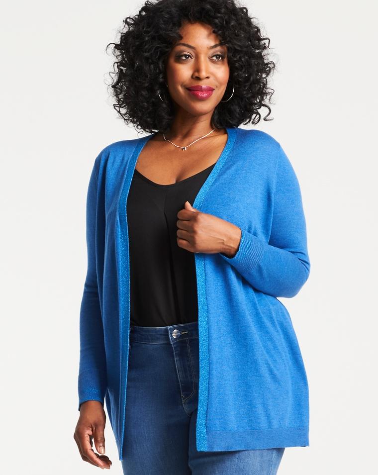 ab9e3e61b56c9 How To Wear A Cardigan Without Looking Frumpy. Fuchsia Boxy Cardigan. Denim  Blue Supersoft Cardigan