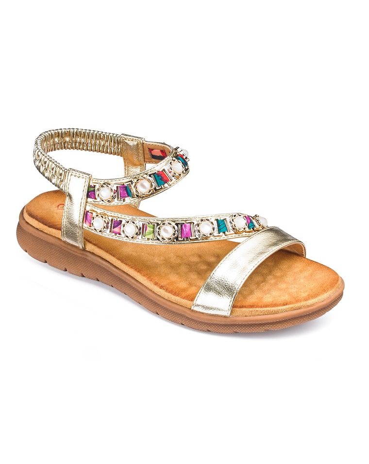 8605a8fc2ed4 Heavenly Feet Beaded Detail Slingback Sandals Extra Wide EEE Fit