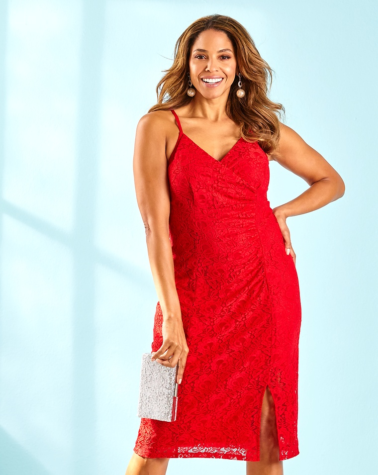 be8be47ef8f4 Joanna Hope Lace Dress - Red