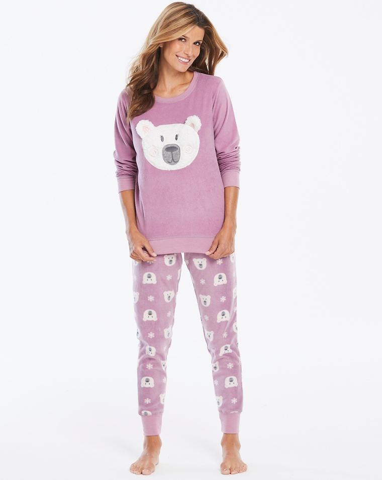 c43e3b9d16 Pretty Secrets Dusky Pink Fleece Bear Cuff Legging PJ Set