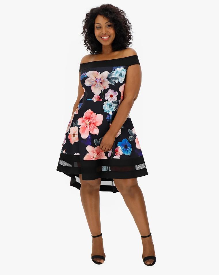 af4717980006 Quiz Bardot Floral Skater Dress