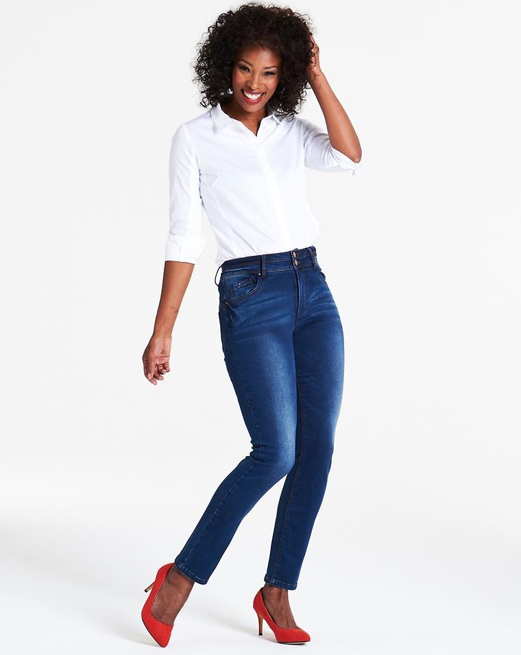 9ac64873140 Shape   Sculpt Vintage Blue High Waist Straight Leg Jeans Regular Length
